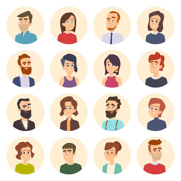 Geschäftsavatare. farbige web-bilder von männlichen und weiblichen büroleitern porträts im cartoon-stil Premium Vektoren