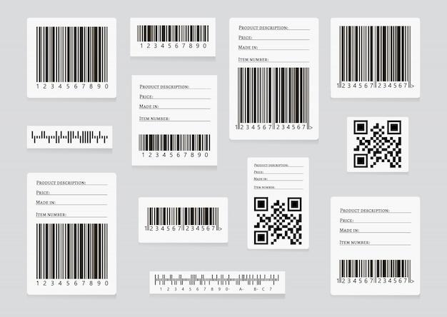 Geschäftsbarcodes und qr code-vektorsatz Premium Vektoren
