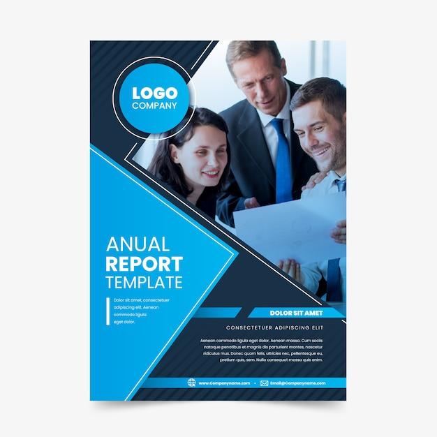 Geschäftsbericht vorlage mit foto Kostenlosen Vektoren