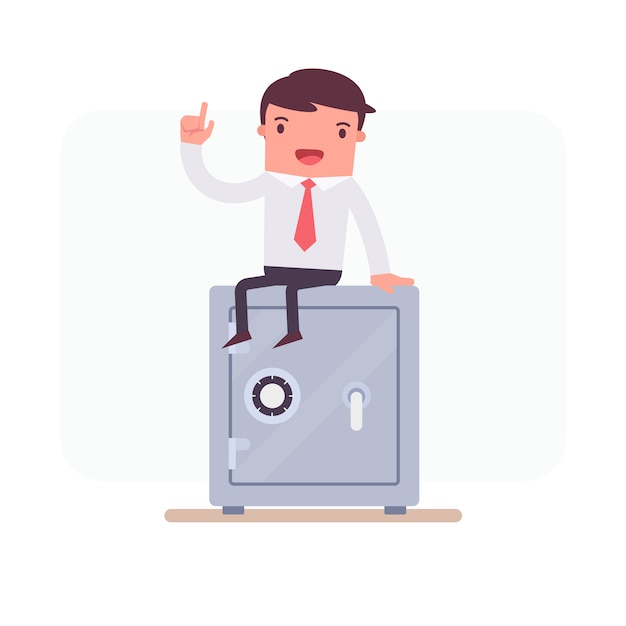 Geschäftsbeschäftigung auf einem safe Kostenlosen Vektoren