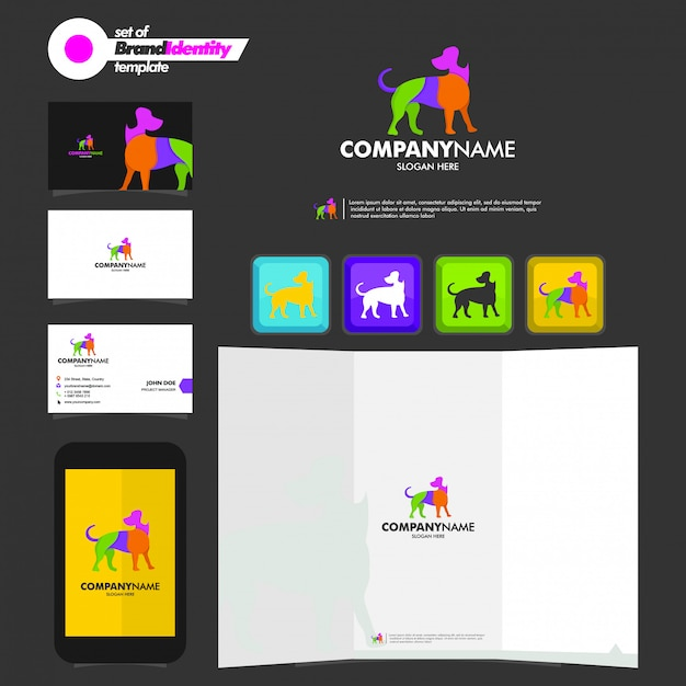 Geschäftsbrandingschablone mit hundefirmenzeichen, visitenkarte, broschüre und smartphone Premium Vektoren