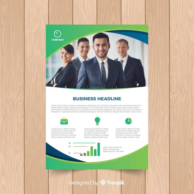 Geschäftsbroschürenschablone mit foto Kostenlosen Vektoren