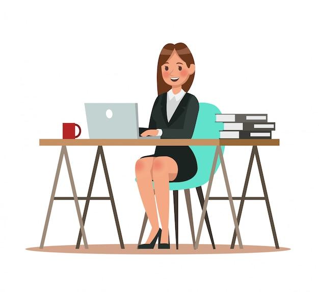 Geschäftscharaktere, die im büro arbeiten Premium Vektoren
