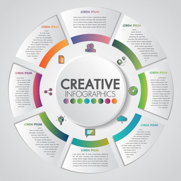 Geschäftsdarstellungskonzept mit 8 schritten geschäfts- und industriegang reden infographic schablone an Premium Vektoren