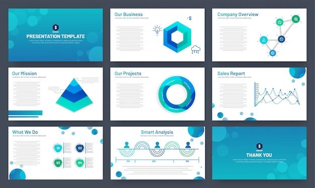 Geschäftsdarstellungsschablonendesign mit infographic elementen Premium Vektoren