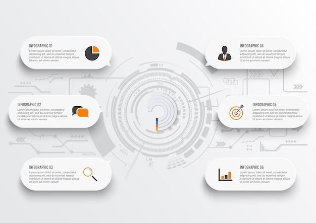 Geschäftsdaten. abstrakte elemente des diagramms mit 6 schritten. Premium Vektoren