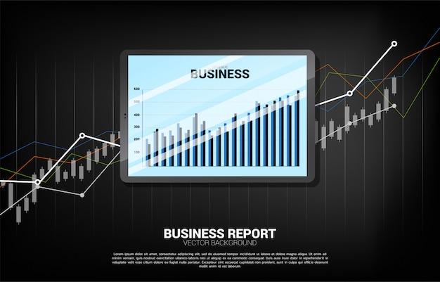 Geschäftsdiagrammbericht in der tablette mit diagrammhintergrund. Premium Vektoren