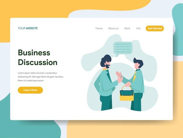 Geschäftsdiskussion für website-seite Premium Vektoren
