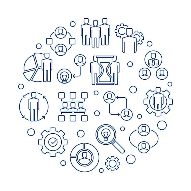 Geschäftsentwurfs-ikonenillustration der partnerschaft runde Premium Vektoren