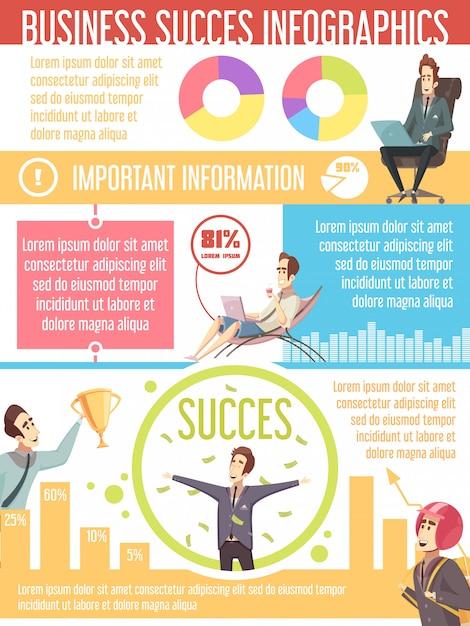 Geschäftserfolg-karikatur infographic-plakat Kostenlosen Vektoren