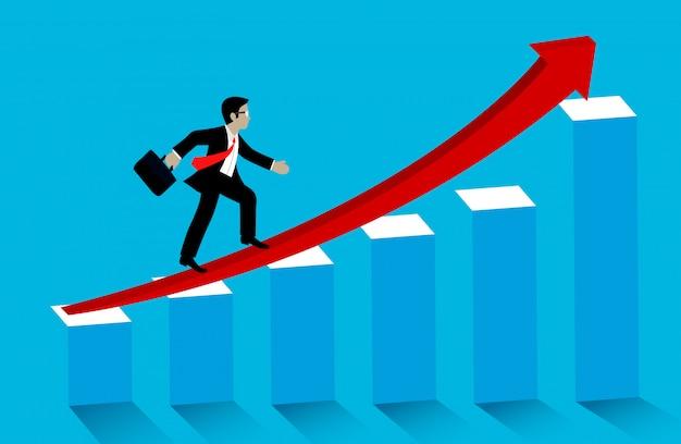 Geschäftserfolg konzept. geschäftsmannweg herauf die roten pfeile auf balkendiagramm, zum mit wachstum anzuvisieren Premium Vektoren