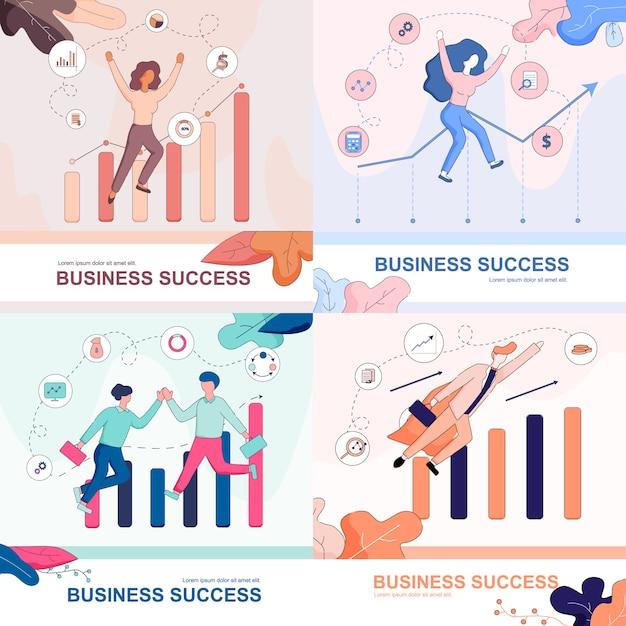 Geschäftserfolg set. glückliche geschäftsleute. Premium Vektoren