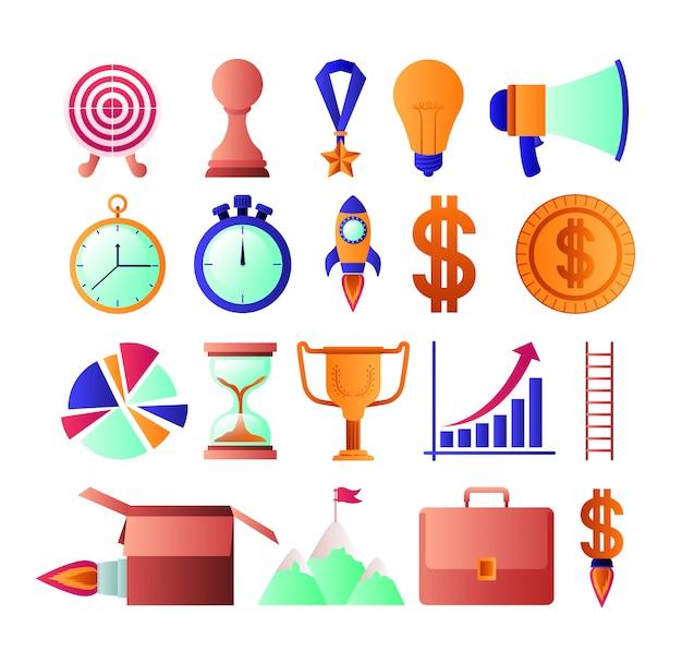 Geschäftserfolg stellen icons Premium Vektoren