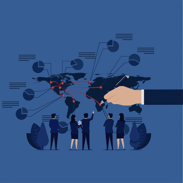 Geschäftserweiterung. geschäftsteam sieht weltkarte, um finanziellen profit zu berechnen. Premium Vektoren