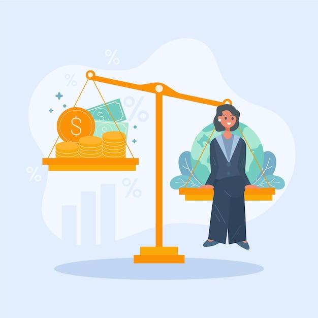 Geschäftsethik frau in der natur oder profit Kostenlosen Vektoren