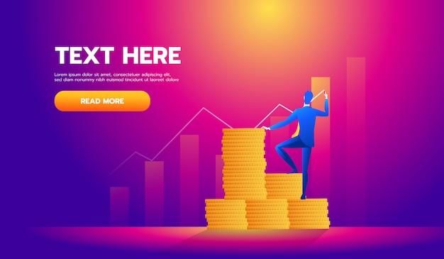 Geschäftsfinanzkonzept, investor schreiben das diagramm Premium Vektoren