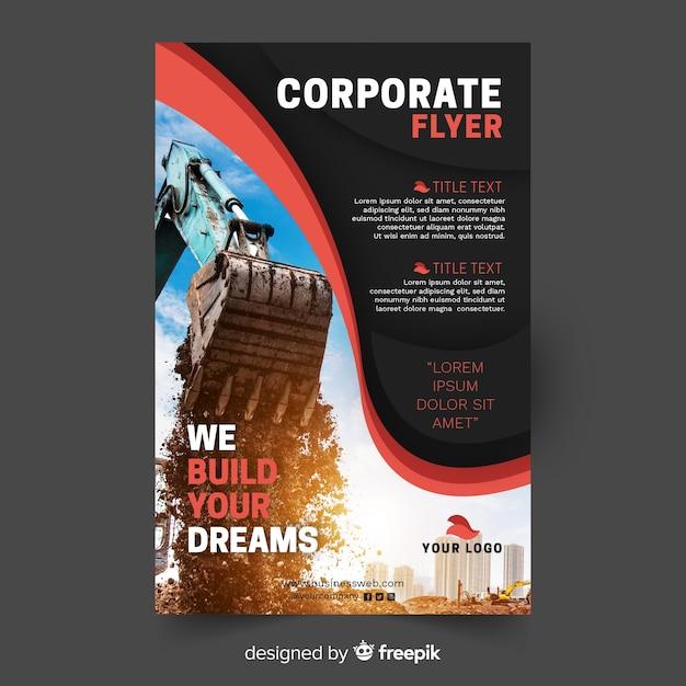 Geschäftsfliegerschablone mit foto Premium Vektoren