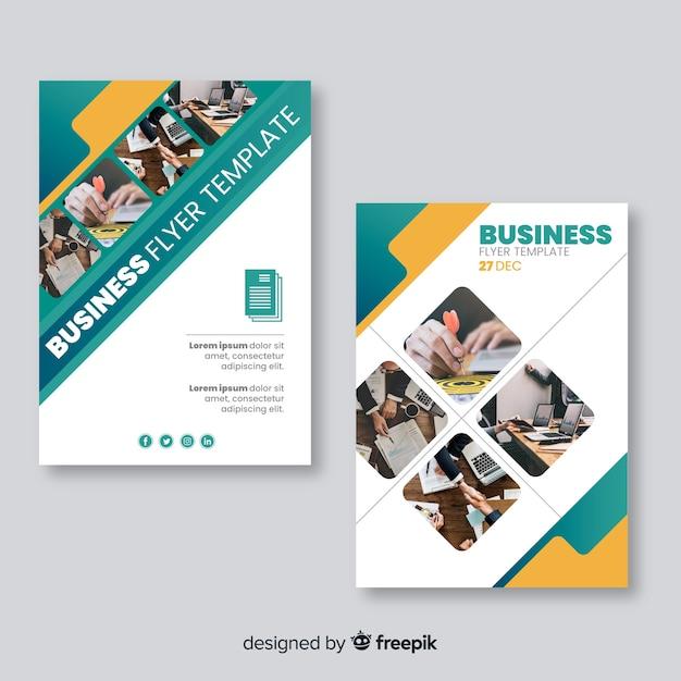 Geschäftsfliegerschablone mit mosaikbildern Kostenlosen Vektoren