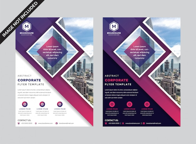 Geschäftsfliegerschablone mit purpurroten geometrischen dreieckformen Premium Vektoren