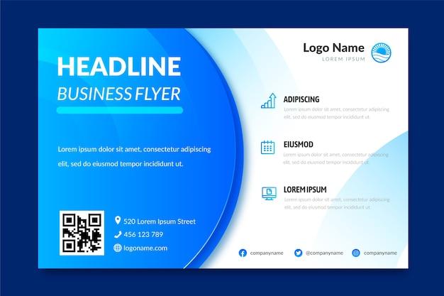 Geschäftsfliegervorlage mit blauen abstrakten formen Kostenlosen Vektoren