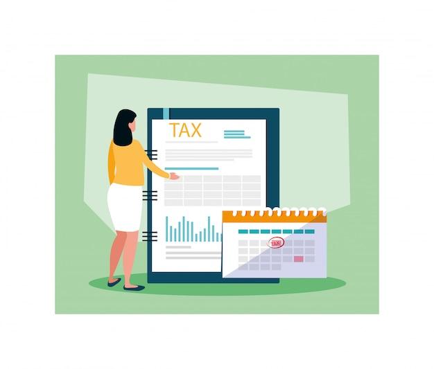 Geschäftsfrau am steuertag Premium Vektoren
