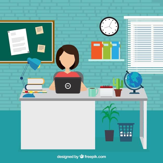 Geschäftsfrau arbeiten im büro Kostenlosen Vektoren