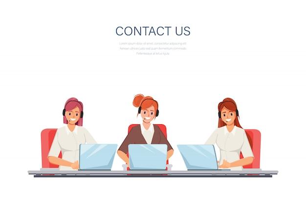 Geschäftsfrau arbeitet mit einem laptop und kommunikation. call center kundendienst job charakter. Premium Vektoren