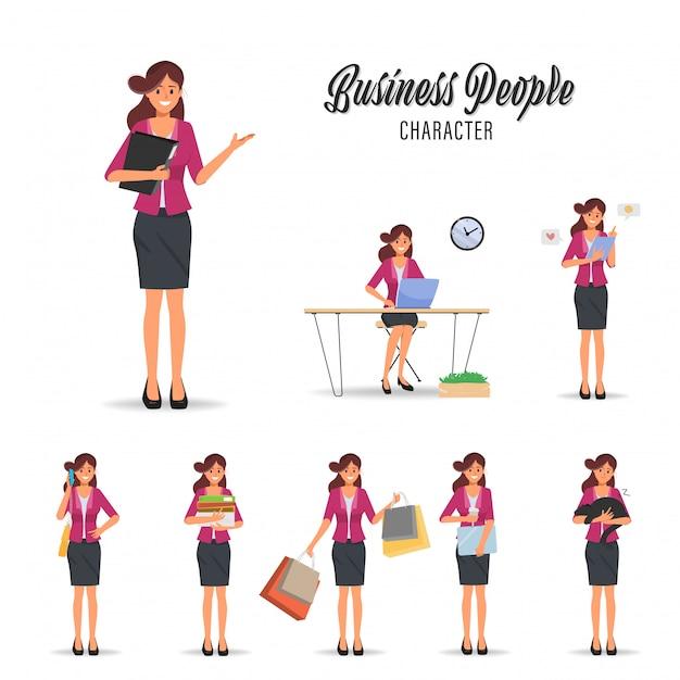 Geschäftsfrau-arbeitsroutinecharakterhaltung. Premium Vektoren