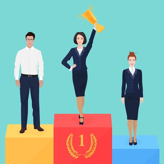 Geschäftsfrau auf dem siegertreppchen Premium Vektoren