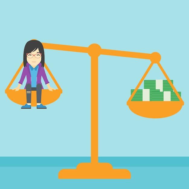 Geschäftsfrau auf skala mit stapeln geld. Premium Vektoren