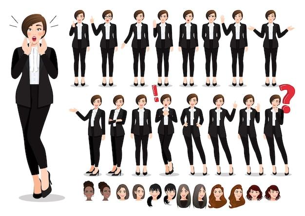 Geschäftsfrau cartoon charakter pose set. schöne geschäftsfrau im schwarzen anzug der büroart. Premium Vektoren