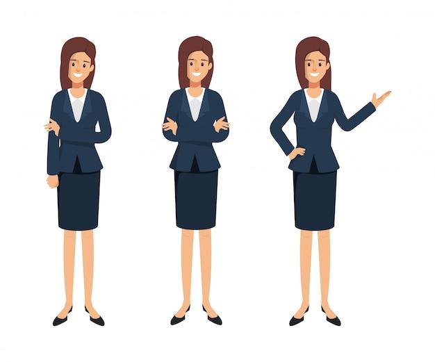 Geschäftsfrau charakter darstellen. frau im uniformanzug. Premium Vektoren