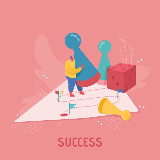 Geschäftsfrau charakter, der würfel spielt. geschäftsplanung, risiko- und strategiekonzept. menschen frau, die brettspiel, erfolg, wettbewerb und führung spielt. Premium Vektoren
