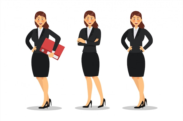 Geschäftsfrau charakter design. arbeiten im büro, pose, flach Premium Vektoren