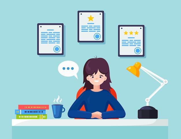 Geschäftsfrau, die am schreibtisch arbeitet Premium Vektoren