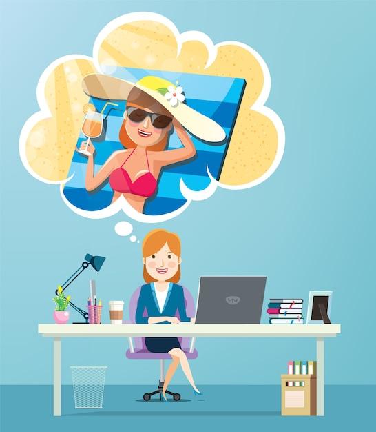 Geschäftsfrau, die an ihre sommerferien denkt Premium Vektoren