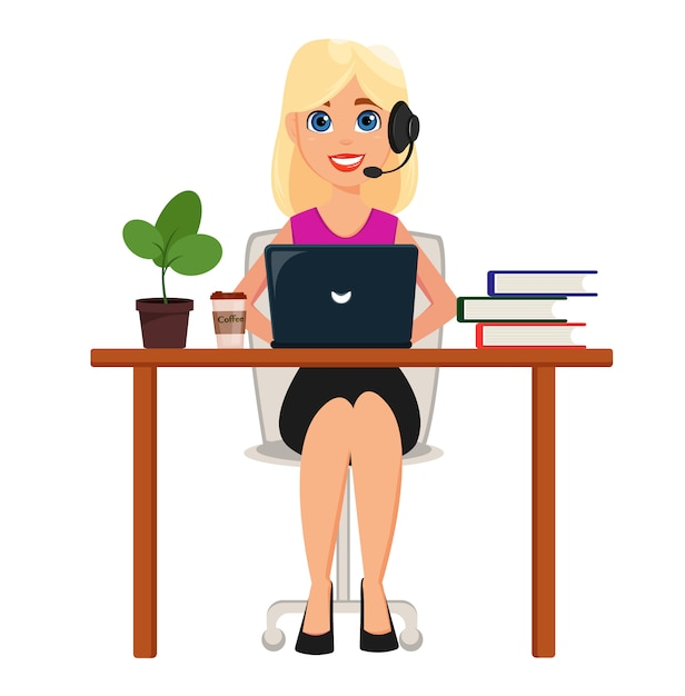 Geschäftsfrau, die an laptop an ihrem schreibtisch arbeitet Premium Vektoren