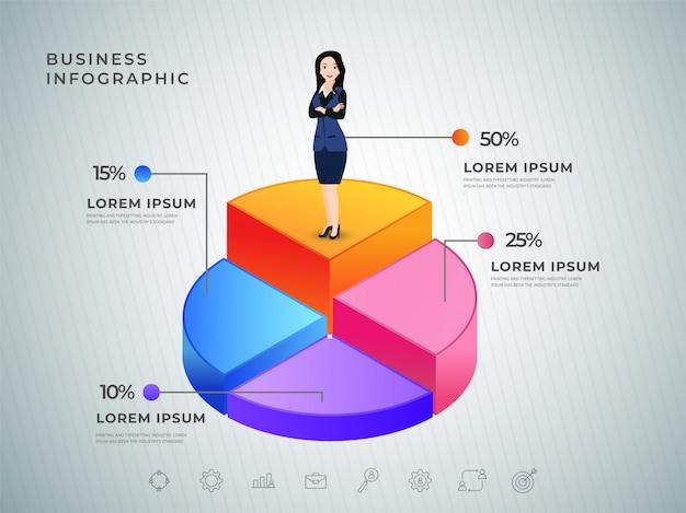 Geschäftsfrau, die auf kreisdiagramm 3d steht. geschäft infografik Premium Vektoren