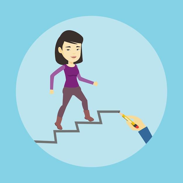Geschäftsfrau, die die karriereleiter hinaufläuft. Premium Vektoren