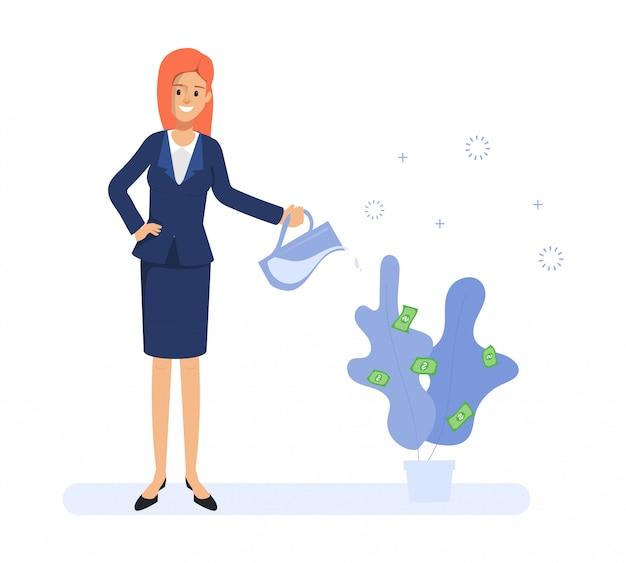 Geschäftsfrau, die einen baum wässert und geld erhält. menschen in der täglichen routine. Premium Vektoren