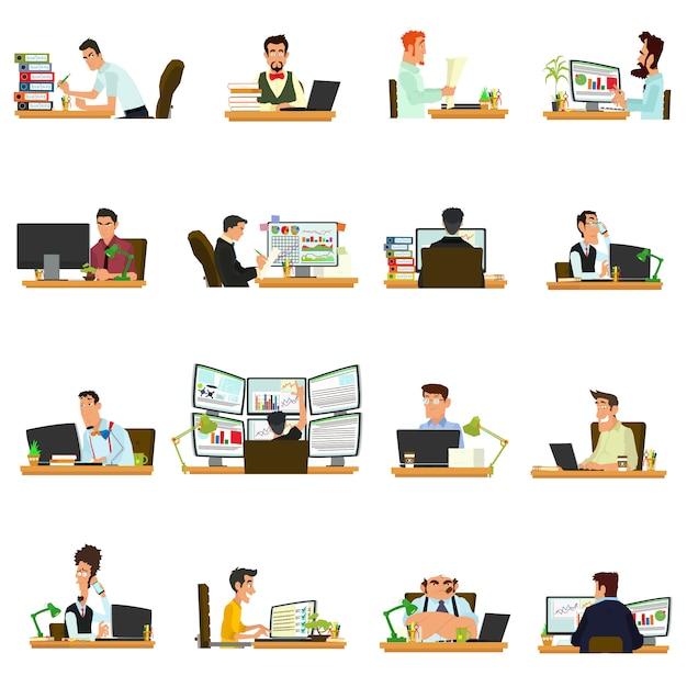 Geschäftsfrau, die für einen laptop arbeitet. leute, die am tisch sitzen und arbeiten. Premium Vektoren