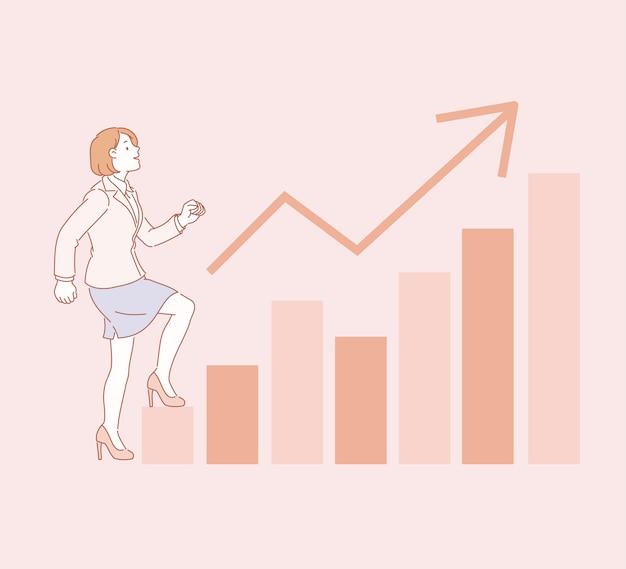 Geschäftsfrau, die graphendiagramm in der linienartillustration hinaufgeht Premium Vektoren