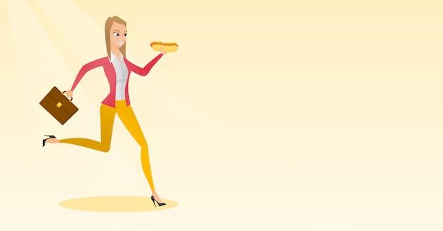 Geschäftsfrau, die hotdog isst Premium Vektoren