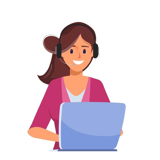 Geschäftsfrau, die mit laptop arbeitet, um mitte zu nennen. Premium Vektoren