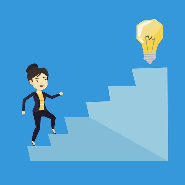 Geschäftsfrau, die nach oben zur ideenbirne geht. Premium Vektoren