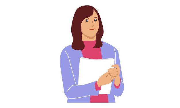 Geschäftsfrau, die papierdatei hält Premium Vektoren