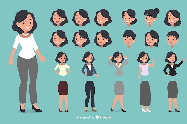Geschäftsfrau eingestellt mit verschiedenen lagen Kostenlosen Vektoren