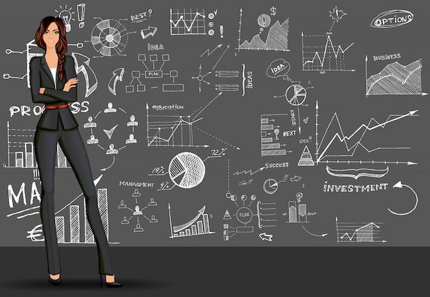 Geschäftsfrau-gekritzelhintergrund Kostenlosen Vektoren