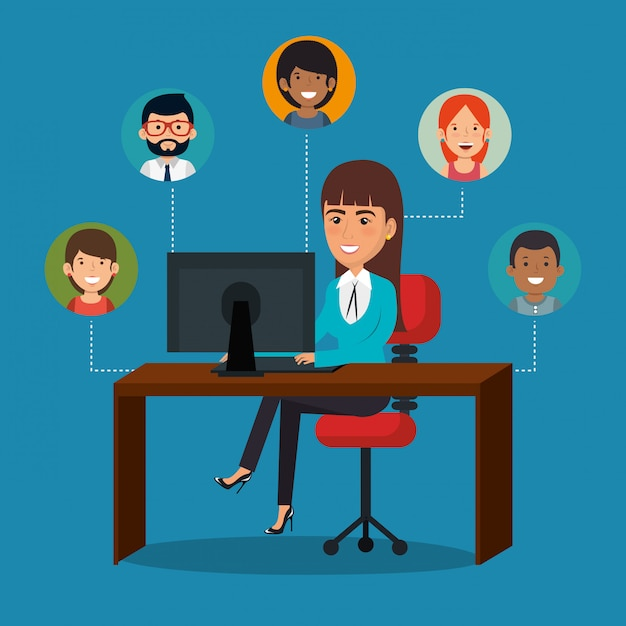 Geschäftsfrau im büro mit e-mail-marketing-ikonen Kostenlosen Vektoren