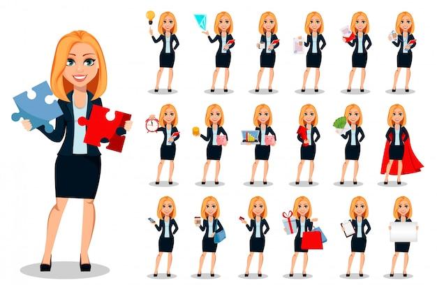 Geschäftsfrau in der büroartkleidung eingestellt Premium Vektoren